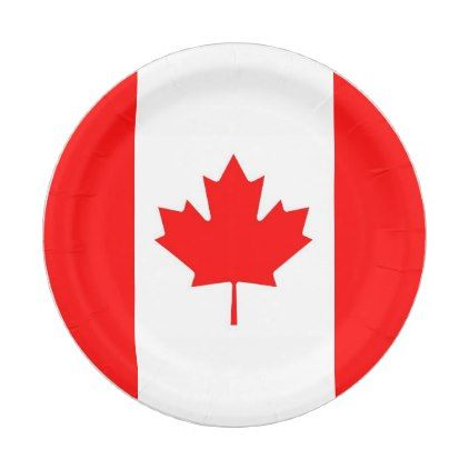 Patriotic paper plate with flag of Canada  $1.50  by AllFlags  - cyo diy customize personalize unique