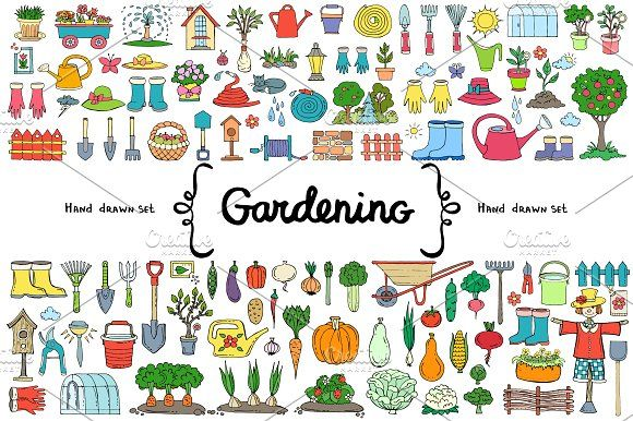 Vector set with gardening doodles by Ola_View on @creativemarket