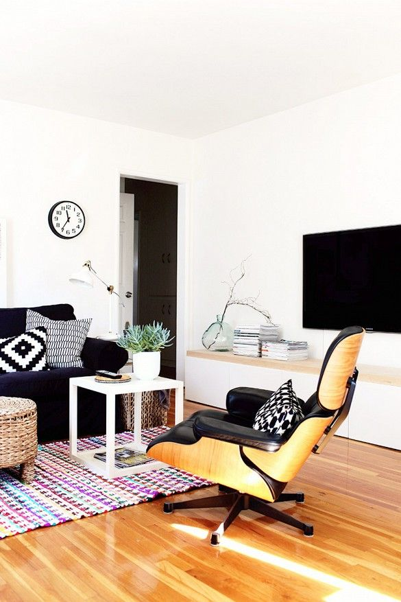 Black and white living room with television