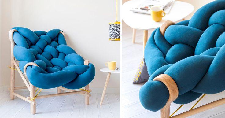 An Oversized Stuffed Knit Chair by Veega Tankun   Prachtige stoel waarin je helemaal wil wegkruipen.