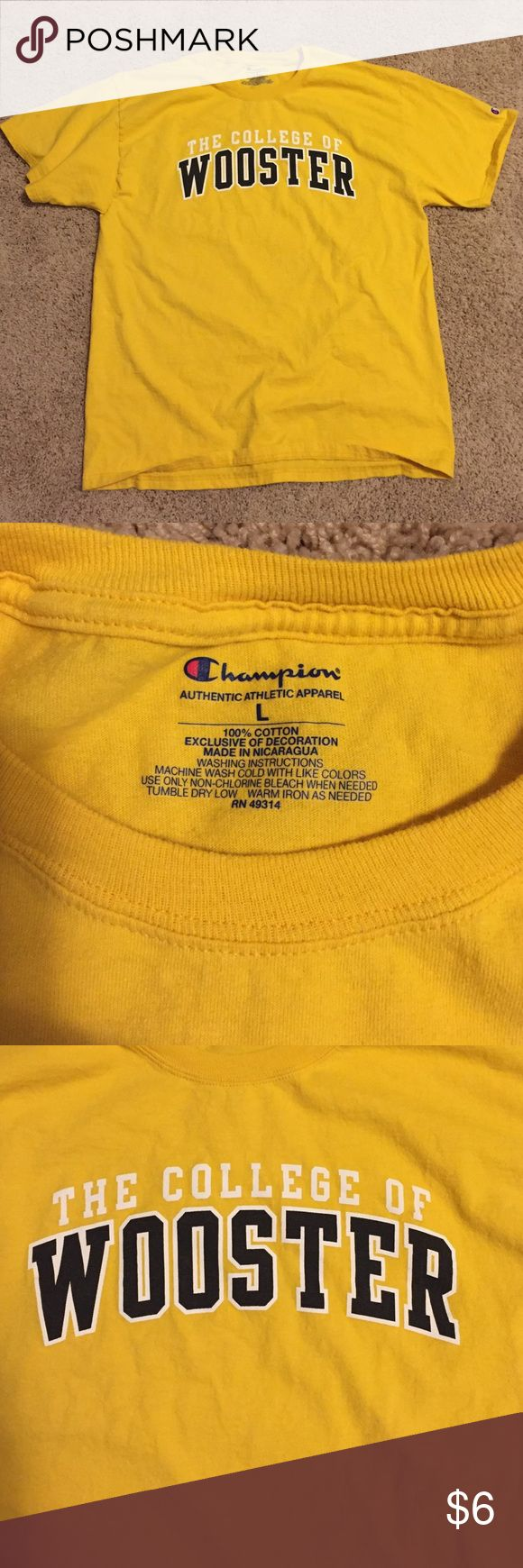 Yellow College of Wooster T-Shirt Like new yellow College of Wooster short sleeved t-shirt Champion Tops Tees - Short Sleeve