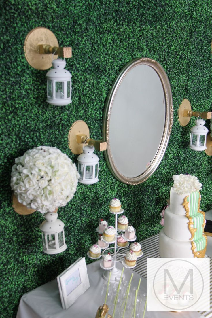 Vintage gold,white and lime green cake,White rose balls ,green topiary backdrop,vintage mirror.for more information on products or your next event contact info@meventssydney.com.au