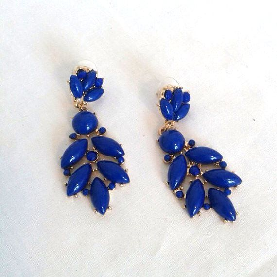 Royal Blue And Gold Statement Earrings by LilyAndEllieShop on Etsy, $16.00
