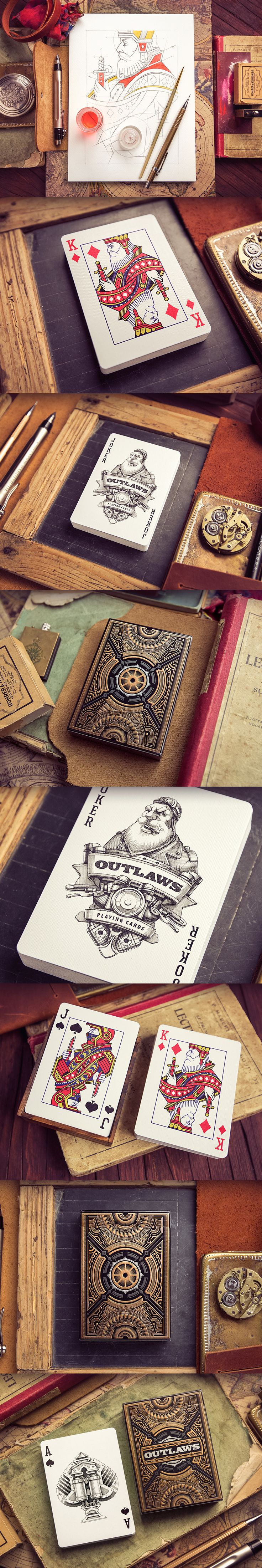 Playing cards outlaws deck, dribbble, Creative Mints, illustration, pencil, drawing, process