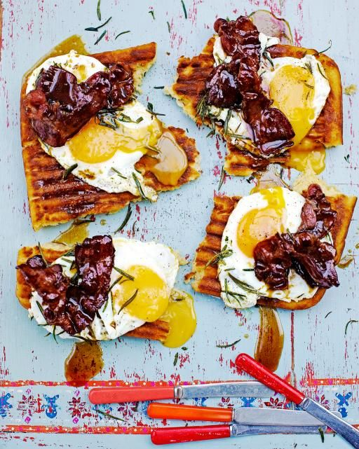 Griddle-pan waffles - A super-tasty (breakfast) treat | There's no need to buy a waffle iron for these bad boys. These are made straight in a griddle pan and they're delicious! | OK... I would never ever combine waffles with eggs and bacon.. But I will make this recipe with sugar and other sweet stuff. | By Jamie Oliver