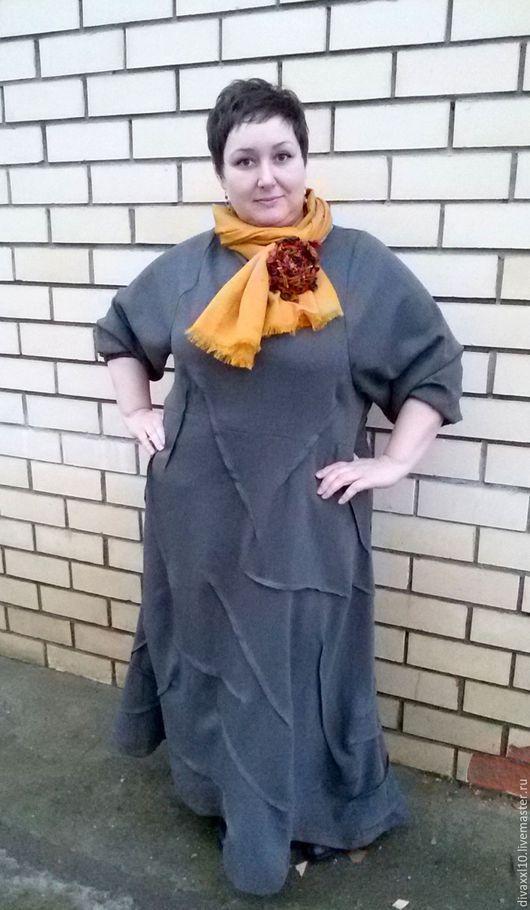 Большие размеры ручной работы. Ярмарка Мастеров - ручная работа. Купить Платье серое необычное. Handmade. Однотонный, платье для полных