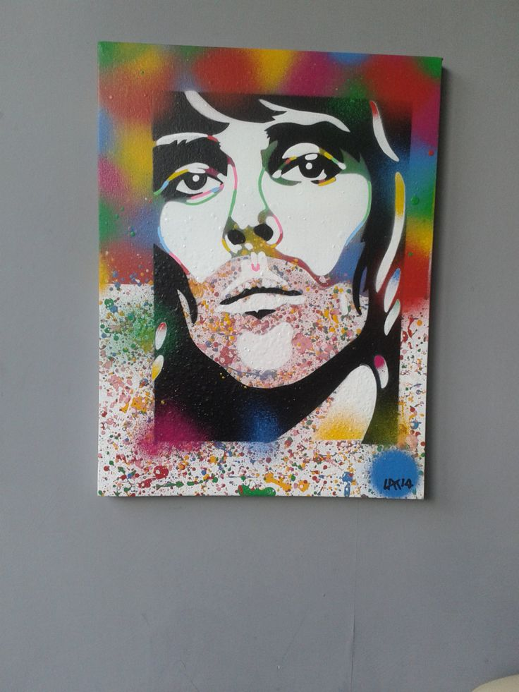 Ian Brown painting,Stone Roses,band,pop,splash,stubble,stencil art,canvas,urban,music,portrait,Manchester,United Kingdom,Europe,spray paints