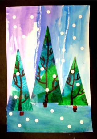 Winter trees, watercolour skies, tissue paper trees