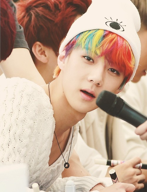 Sehun, i love his rainbow hair!