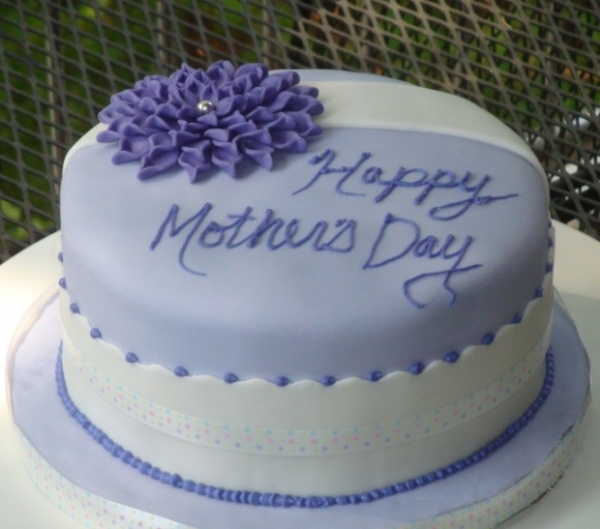 Purple Happy Mother's Day Cake! We love! So neat!