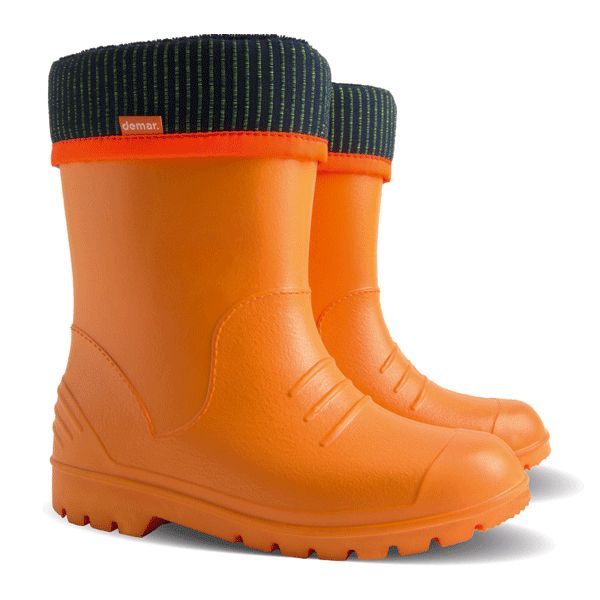 #Demar #Dino - #Orange , #wellies for #kids , created with #super #light #EVA material , with #cotton inside for full #comfort.
