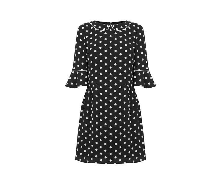Oasis, SPOT FLUTE SLEEVE DRESS Black and White