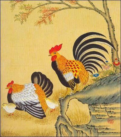 korean traditional-paintings: minhwa