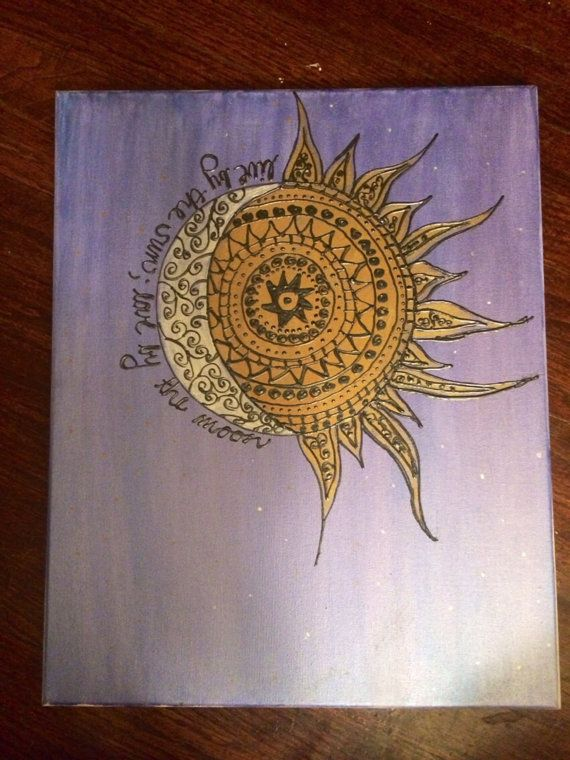 Live by the sun love by the moon canvas painting by CreationsByCnC, $35.00