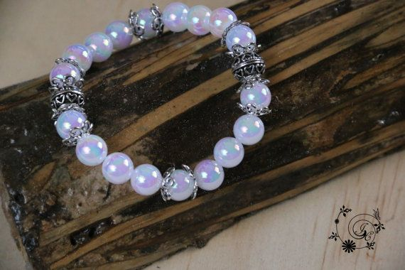 White Acrylic Beaded Bracelet with Silver by DelightGalleryCrafts