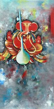Artist Name: M Singh, Title: SidhhidataGanesha, Lot No.: 73519, Medium: Acrylic on Canvas, Size: 24X48, INR 49,000 / $ 898