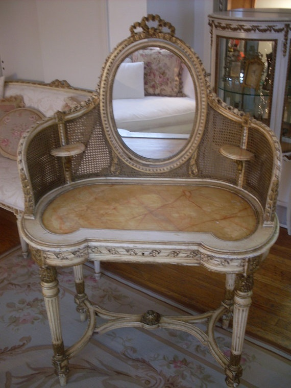 Antique Original French Cane Roses Barbola Vanity by parislane, $2495.00 - 48 Best Antique French Writing Desk And Dressing Tables Images On
