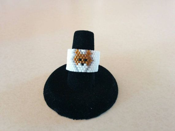 Fox Ring,  Peyote Ring, Thumb Ring, Wide Beaded Ring, Band Ring, Tube Ring, Finger Cuff