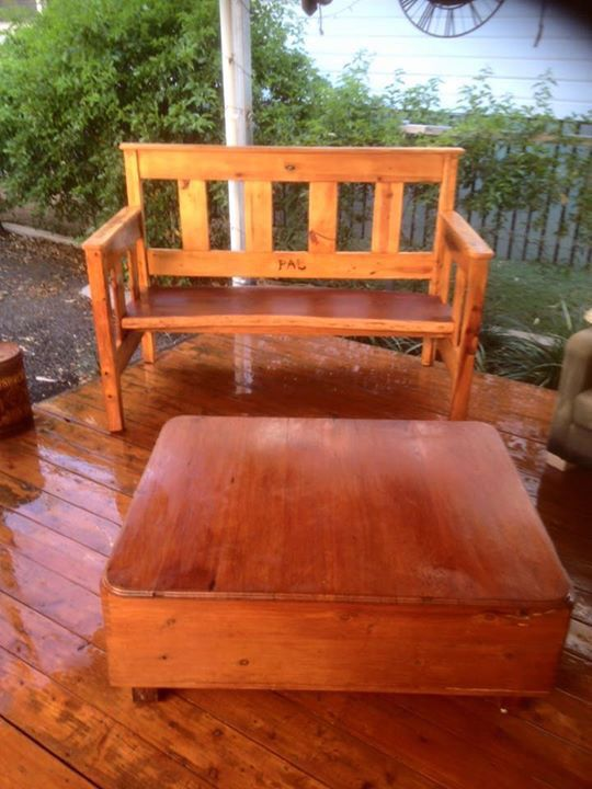 Our old Ben made into chair and coffee table made from old recycled timber