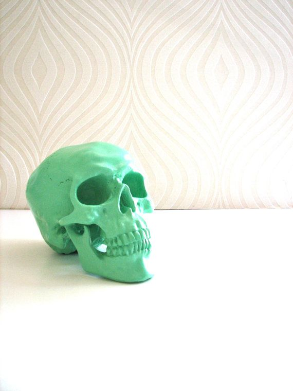 Skull Head in mint  Mr. Smiley by mahzerandvee on Etsy, $28.00