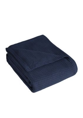 Elite Home Products  Grand Hotel Cotton Blanket - Navy - Twin Blanket Open Stock