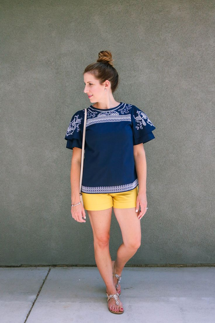 summer outfit, yellow shorts outfit, navy and yellow, flutter sleeve, embriodered top, dressy shorts outfit, banana republic factory outfit