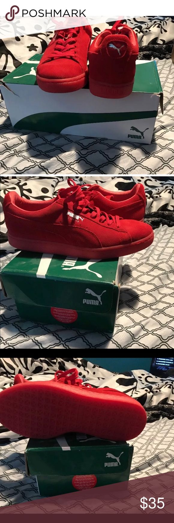 Red Suede Pumas All Suede red Pumas Puma Shoes Athletic Shoes