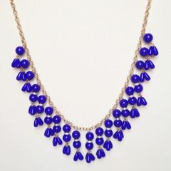 Cobalt Blue Droplet Statement Necklace