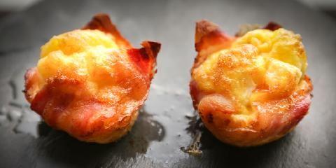 Egg og bacon - Baconkurver med eggefyll er den nye frokostfavoritten. 180 grader i 10 minutter - må prøves....