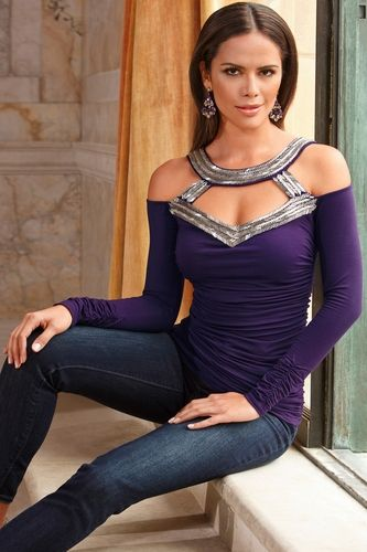 Beaded cold-shoulder top from Boston Proper on shop.CatalogSpree.com, your personal digital mall.