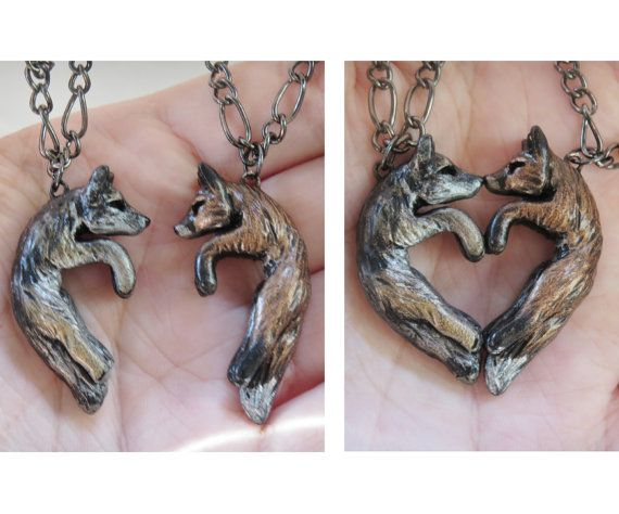 Wolf and Fox Love Necklace His and Hers Heart Kissing Couple