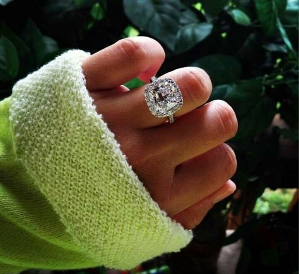 womens fashion online shopping Cushion cut engagement ring  L is for the way