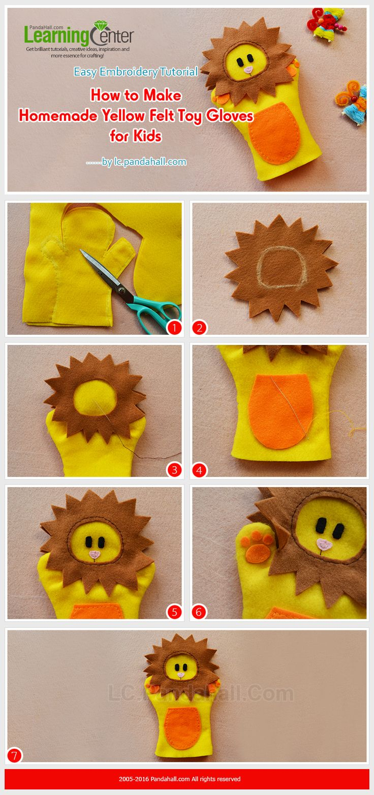 Easy Embroidery Tutorial - How to Make Homemade Yellow Felt Toy Gloves for Kids from LC.Pandahall.com