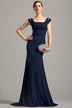 eDressit Off Shoulder High Slit Navy Blue Evening Dress (00154505) - USD 179.99