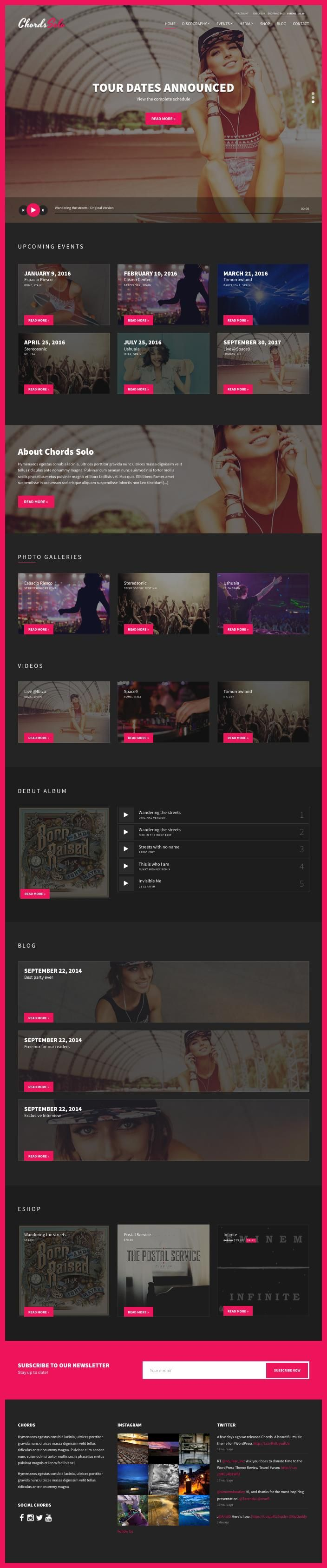 Chords is an awesome responsive WordPress music theme from cssigniter developer club and it has been showcased on ThemeForest theme selling place. Chords theme is specially designed for musicians, solo artists, DJ clubs and radio stations websites...