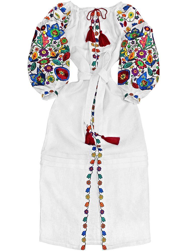 "Ukrainian Long embroidered dress ""Bukovina Flowers"" (Large). Boho style dress. Made in Ukraine. Massive embroidery in authentic folk Ukrainian style. Rich contrasting colors. All sizes. Custom sizes available. Ukrainian Vyshyvanka in Bohemian style."