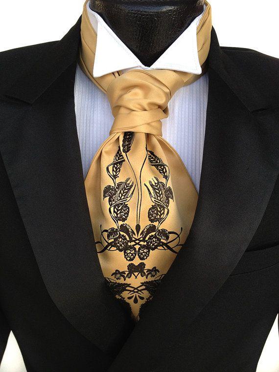Hops and Wheat Print Ascot. Beer Cravat Tie. Self tie mens cravat tie. Screenprinted formal ascot. Your choice of colors.