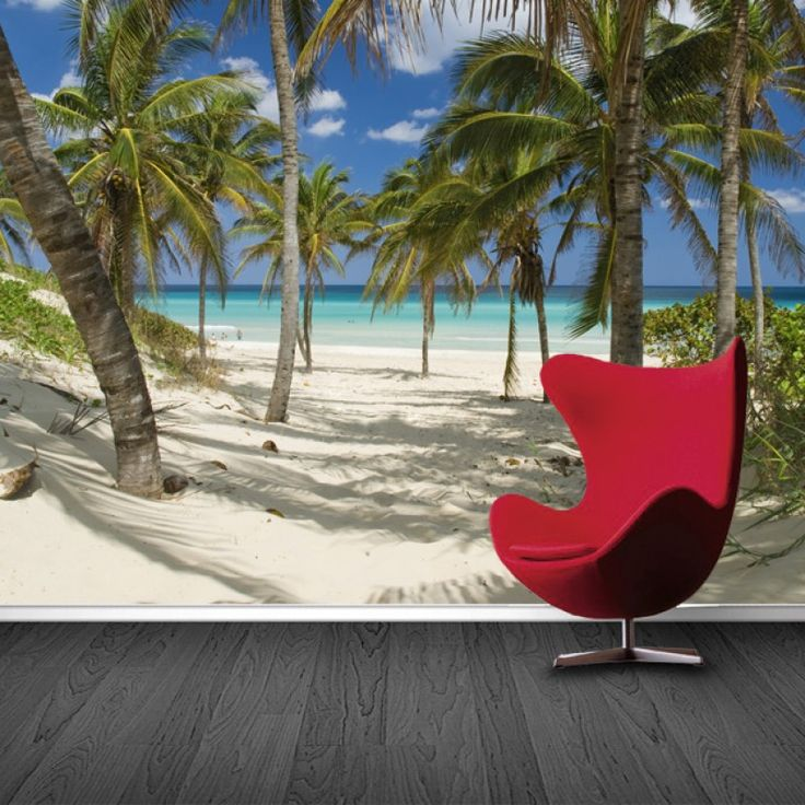 Fotobehang Beach   Maak het jezelf eenvoudig en bestel fotobehang voorzien van een lijmlaag bij YouPri om zo gemakkelijk jouw woonruimte een nieuwe stijl te geven. Voor het behangen heb je alleen water nodig!   #behang #fotobehang #print #opdruk #afbeelding #diy #behangen #strand #tropisch #oceaan #zee #palmboom #palmbomen #vakantie #zomer