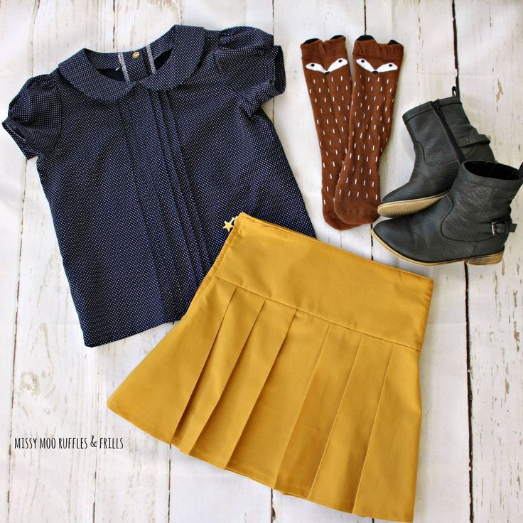 Sweet preppy outfit for little girl // mustard Miriam Skirt and Navy pintucked Phillipa Blouse with fox socks // sewing patterns included in One Thimble Issue 15