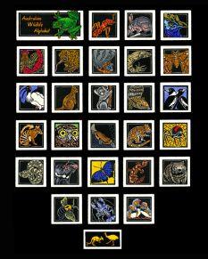 オーストラリアの野生生物アルファベット - リノリウム版画のWEB