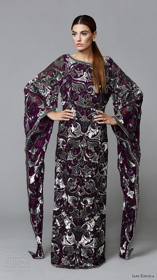 jani khosla 2015 bridal evening dress bateau neckline dark purple kaftan dress