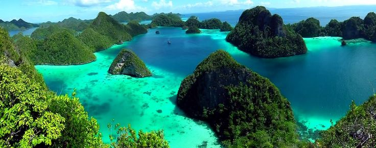 The Raja Ampat Indonesian archipelago is located near the northwest coast of New Guinea. It consists of some 1,500 islands, often mountainous, the largest of which are Waigeo, Batanta, Salawati and Misool. ~