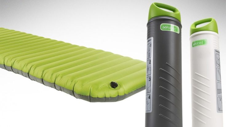 Inflatable mattress that fits inside the pump for storage.