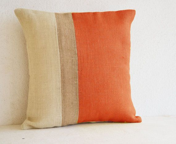 Orange Pillow  Burlap Pillow color block  Orange by AmoreBeaute