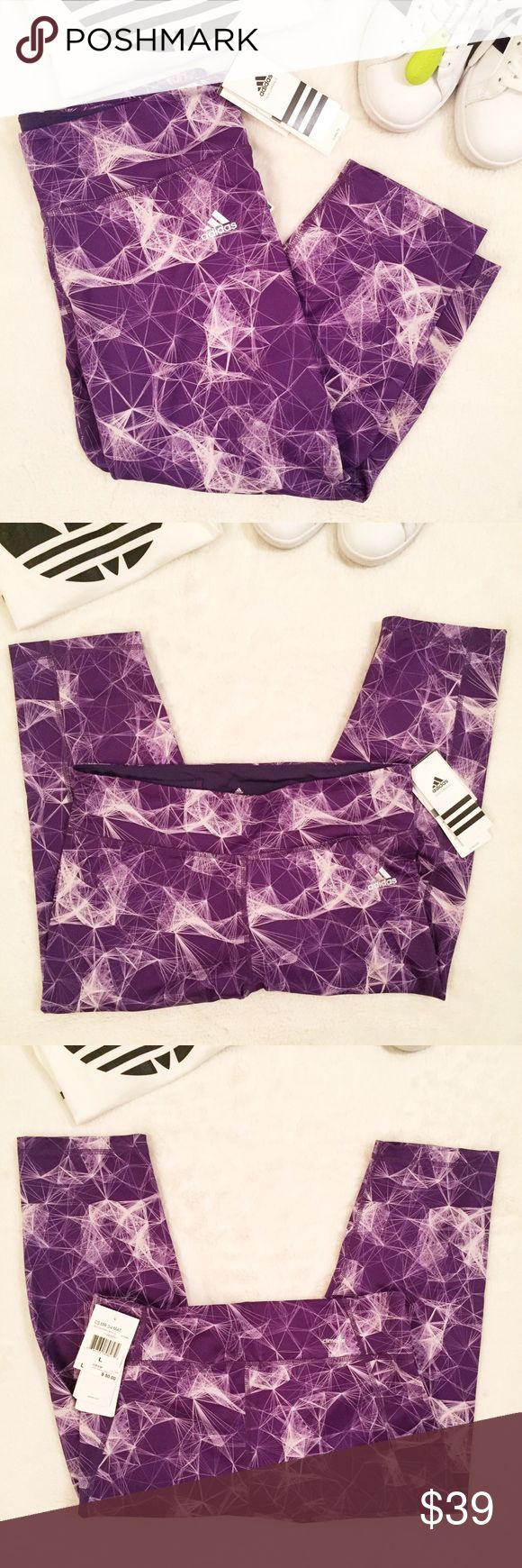 JUST IN ADIDAS Climalite Capri Leggings in Purple Spice up your athleisure with these purple graphic Adidas Performance Climalite Capri leggings / tights, interior pocket, adidas logo on front right hip, keeps you cool on a hot day or while working out at the gym, has UPF 50 protection from UV rays Approx Measurements: 9.5 inch rise, 18 inch inseam, interested? Make an offer! Adidas Pants Leggings