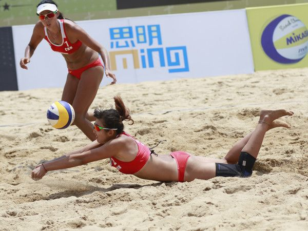 Fan Wang (L) and Yuan Yue of China in action at the FIVB Beach Volleyball World Tour Xiamen Open 2017 on April 23, 2017 in Xiamen, China.
