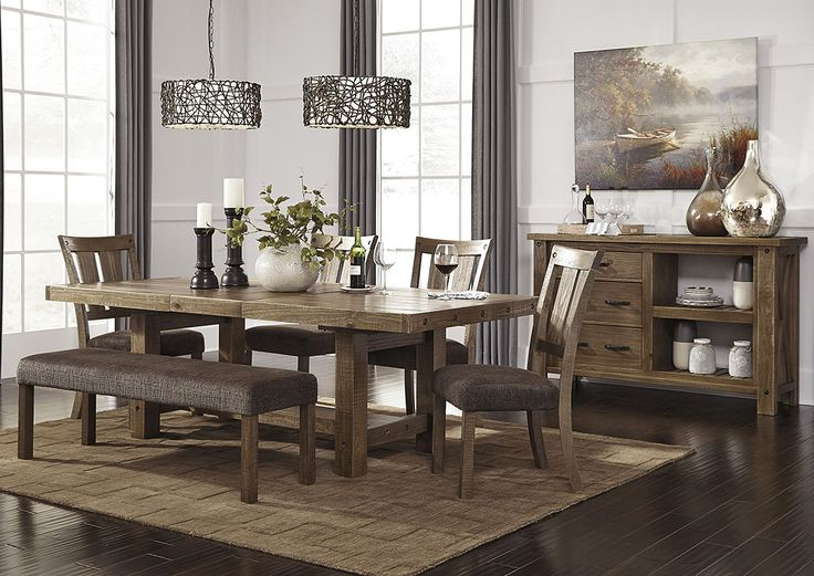 Tamilo Gray Brown Rectangular Dining Room Extension Table Side Chairs Bench And ServerSignature Design By Ashley