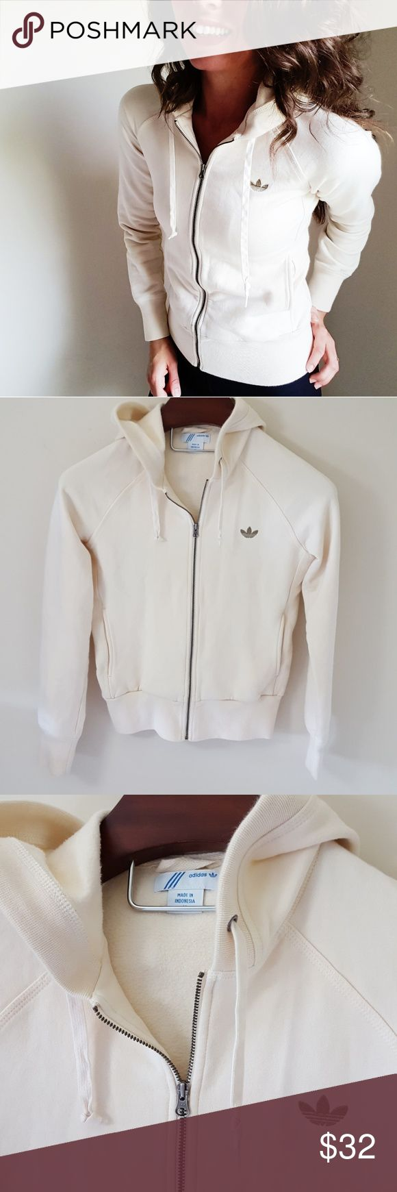 Adidas | cream zip up hoodie In excellent condition! Adidas cream colored zip up hoodie, size medium, but could easily fit a small. Small logo on front!  Used item, some signs of wear shown by pictures ❤ Bundle up! Offers always welcome:) adidas Tops Sweatshirts & Hoodies