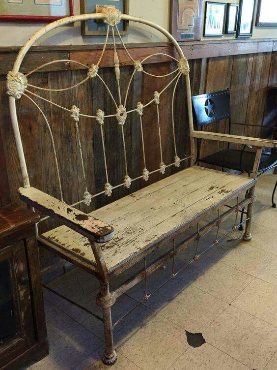 Recycled antique metal headboard into bench