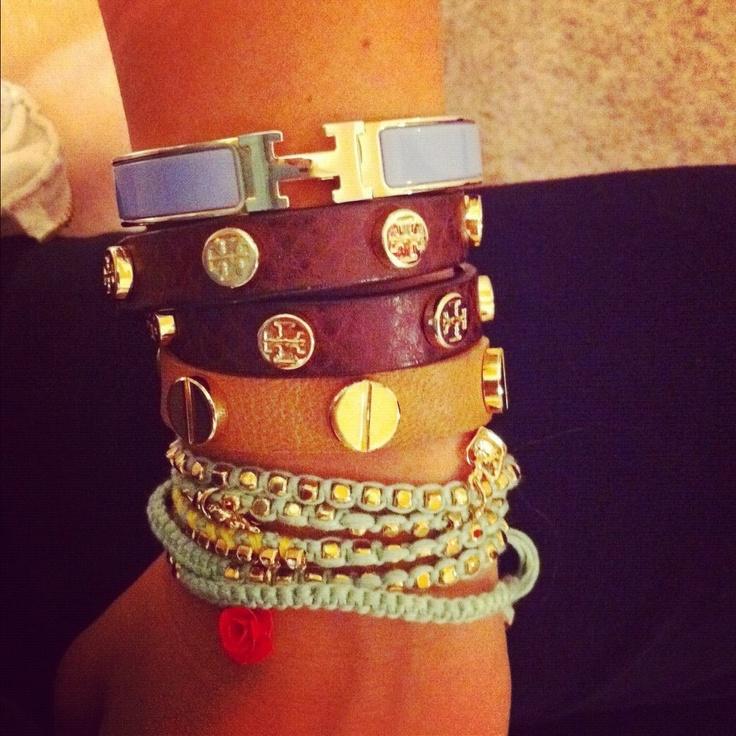 Colors Combos, Stacked Bracelets, Wraps Bracelets, Wrist Candies, Tory Burch, Costumes Jewelry, Accessories, Arm Candies, Arm Parties